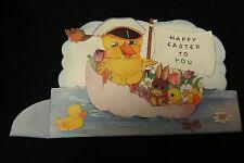 Vintage Duck & Rabbit Easter Card c. 1940s