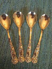 SET 4 DESSERT SPOONS! Vintage GOLD ELECTROPLATE stainless FLORAL pattern: ITALY!