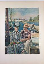 "1953 Vintage Full Color Art Plate ""BOATING AT ARGENTEUIL"" (1) Manet Lithograph"