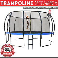 Trampoline with Ladder Shoe Bag Basketball Hoop Safety Net Round Mat 16FT/488CM