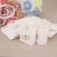 50 Wedding Party Favour Heart Chocolate Cake Candy Boxes Bags Gift White