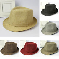 New Fashion Men Women Plain Jazz Fedora Cap Solid Color Trilby Panama Sun Hat