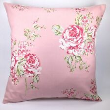 """Clarke and Clarke Flora Rose Pink Flowers 16"""" Cushion Cover"""