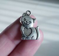 8Pcs Cat Pendant with Heart Charms for Bracelet Necklace Supplies Silver Tone
