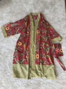 Short Womens Cotton Kimono Robe Tropical Print One Size