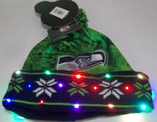 Seattle Seahawks Color LED Light up Hat Winter Pom Beanie Stocking Knit Cap LOGO