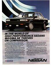 1986 Nissan MAXIMA SE Black 4-door Sedan VTG PRINT AD