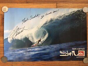 Tom Carroll Quiksilver Vintage Surf Poster Signed Pipeline Hawaii Bottom Turn
