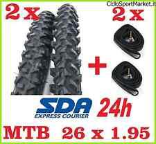 2 Neumáticos + 2 Cámaras de aire para bicicleta Mountain Bike con negro 26 X