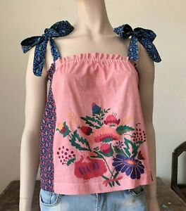 Hand Embroidered Cotton Vintage Calico Top Tank Boho Prairie Johnny Was style