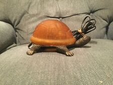 Vintage Bronze Sea Turtle Lamp Amber Glass Shell Table Light Tiffany Style