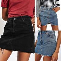 Womens Celeb Ripped Frayed A-line High Waist Jean Denim Bodycon Short Skirt MG