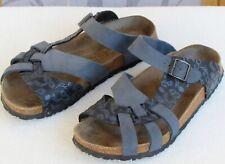 11 | Papillio Birkenstock Women Blue Leather Slip On Flat Open Toe Slide Sandal