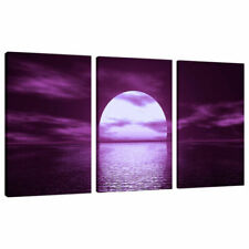 3 Panel Purple Wall Art Canvas Pictures Seascapes Prints Bedroom 3002