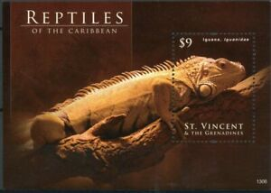St Vincent Grenadines 2013 MNH Reptiles of Caribbean 1v S/S Lizards Iguana