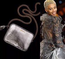 Victoria's Secret Faux Snake Skin SILVER Crossbody Purse Tote Bag GOLD Chain NEW