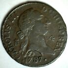 1787 Spain 4 Maravedis Copper Colonial Coin Mint Mark is Aqueduct Charles III