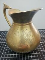 Vintage Big Brass Jug Etched Flower Pattern Water Pitcher