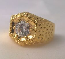 G-Filled Men's 18ct yellow gold simulated diamond solitaire ring Gents hexagon