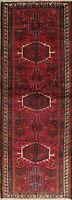 One-of-a-Kind Geometric Gharajeh Oriental Tribal Handmade 3'x10' Runner Rug