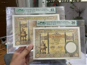 Set 2pcs French Indochina 100 Piastres 1936-39 P-51d Continuous Serial Number