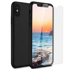 Coque Housse Etui Integrale 360° pour iPhone x Film vitre Verre Trempe Noir