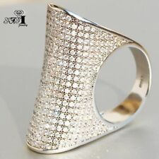 x-LARGE STATEMENT RING SZ 9 18K WG-FILLED AAA CLEAR CZ WIDE MICRO-PAVE CONCAVE