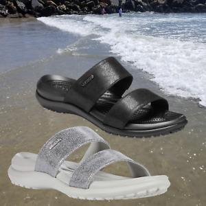 NWT CROC'S Capri Dual Strap Women's Metallic Slides Sandals Size 6 SELECT COLOR