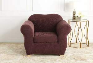 sure fit Stretch Jacquard Damask Two Piece Chair Slipcover Raisin NEW 1