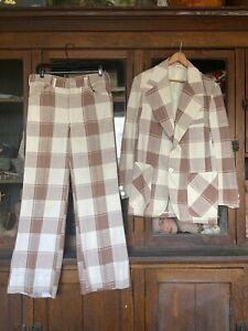 Vintage Mens 1960's 70's 2 Piece Suit Plaid Robert Lewis Hippie Boho Blazer Pant