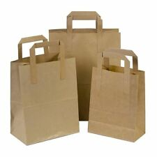 20 Small SOS Takeaway Brown Kraft Paper Carrier Bags with Flat Handles 18x23+9cm