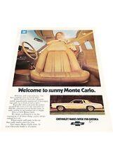 1974 Chevrolet Monte Carlo -  Vintage Advertisement Car Print Ad J414