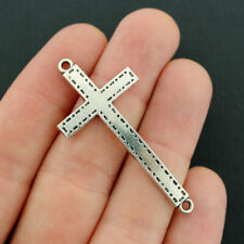 SC5695 4 Cross Connector Charms Silver Tone 2 Sided