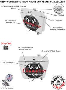 "4 Row CR Champion Radiator W/ 16"" Fan and Shroud for 1949 - 1954 Chevrolet Cars"