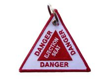 DANGER Ejection Seat Triangular Key Ring Luggage Tag