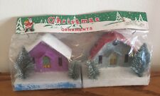 2 VTG CHRISTMAS MICA CARDBOARD PUTZ HOUSE LIGHT COVER ORNAMENTS New nos Nip