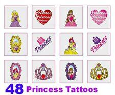 48 girl temporary PRINCESS TATTOOS Nparty bag filler reward sticker children