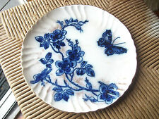 ANTIQUE ENGLISH DOULTON FLOW BLUE FLORAL BUTTERFLY GOLD SPATTER PLATE