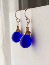 Cobalt Blue Rose Gold Filled Teardrop Earrings