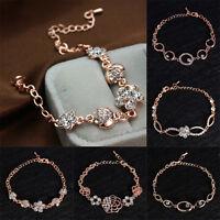 Women Lovely Crystal Zircon Bracelets Chain Link Rose Gold Bangle Cuff Bracelet