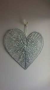 33cm Large Silver Glitter Hanging Heart Christmas Decoration