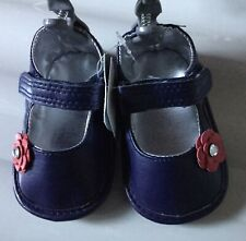 Baby Girls Navy Blue Pram Shoes with Red Flower Detail