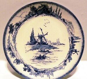 "Vintage Doulton Burslem England  Windmill Blue White Dinner Plate 8.75"""