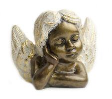 Figura de angel con alas en color dorado estatua de 15 x 18 cm