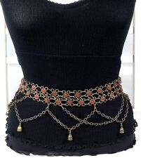 Red Coral on Metal Chain Belly Dancing Fashion Belt  S/M -  MADE IN ITALY