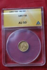 US GOLD COIN 1857 $1 ANACS AU50 4632100 AUTHENTICATED by ANACS .900 gold