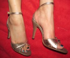 Vintage 1970s Disco Qualicraft Olive & Gold ankle strap heels women's 5.5B 5.5 B