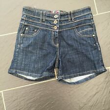 JANE NORMAN LADIES BLUE DENIM HIGH WAISTED SHORTS SIZE 10