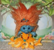"3"" OCTO-PRINCESS TROLL / Custom crochet octopus dress, necklace, new hair, paint"