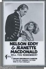 Nelson Eddy & Jeanette MacDonald - Will You Remember? - New Cassette Tape!